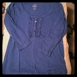 Old Navy blue 3/4 length sleeve top size med